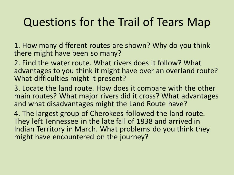 Questions for the Trail of Tears Map