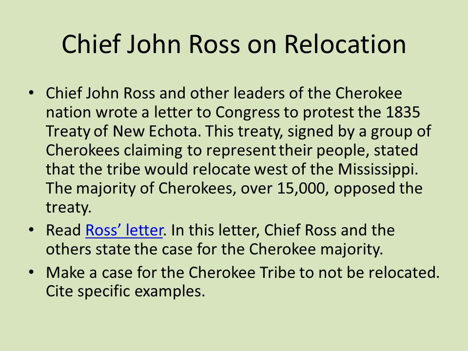 Chief John Ross on Relocation