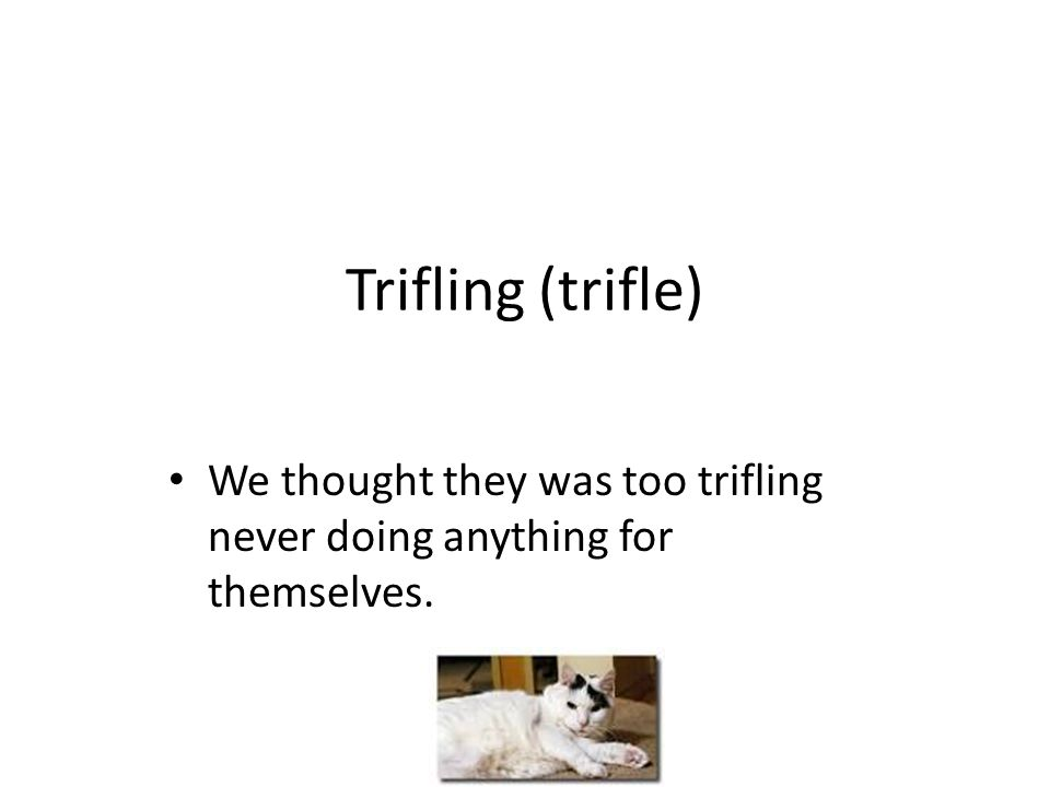Trifling (trifle) We thought they was too trifling never doing anything for themselves.