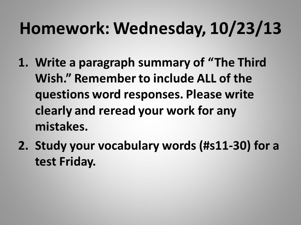 Homework: Wednesday, 10/23/13