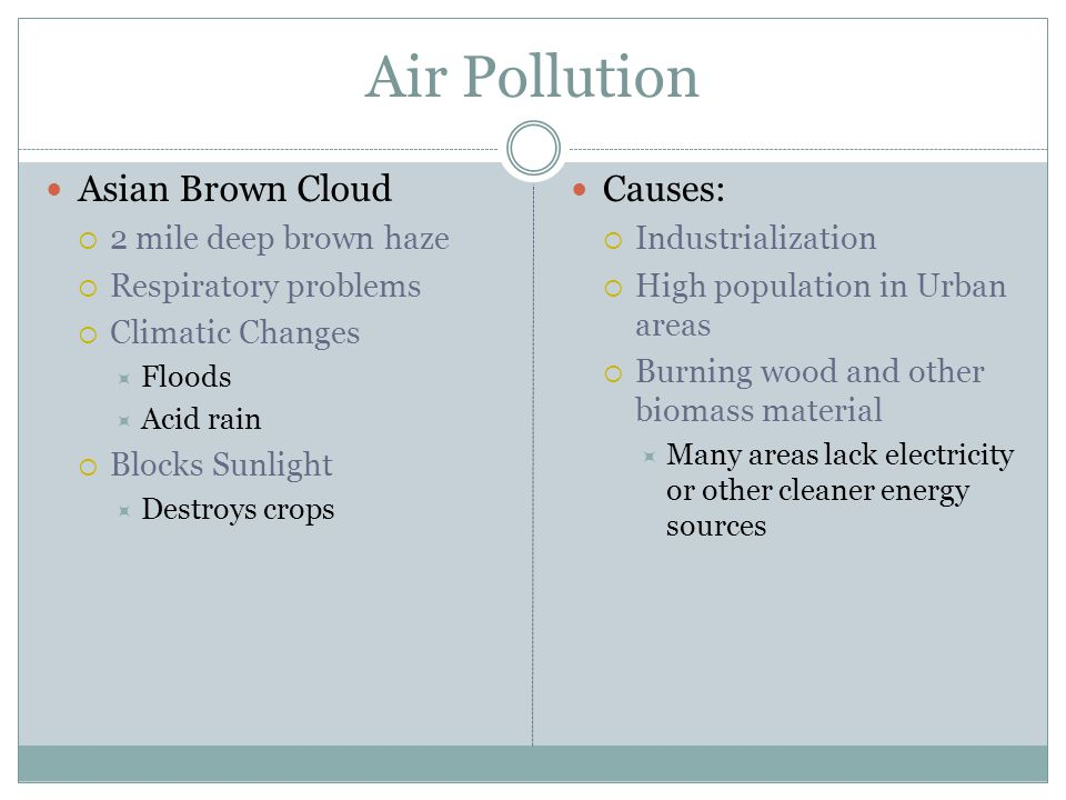 Air Pollution Asian Brown Cloud Causes: 2 mile deep brown haze