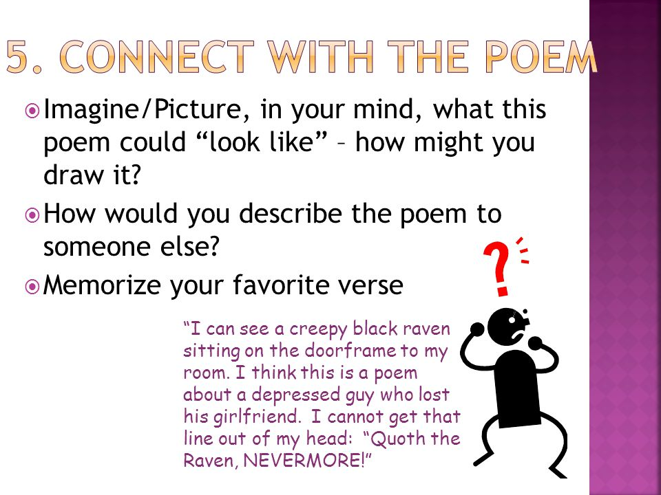 5. Connect with the Poem Imagine/Picture, in your mind, what this poem could look like – how might you draw it