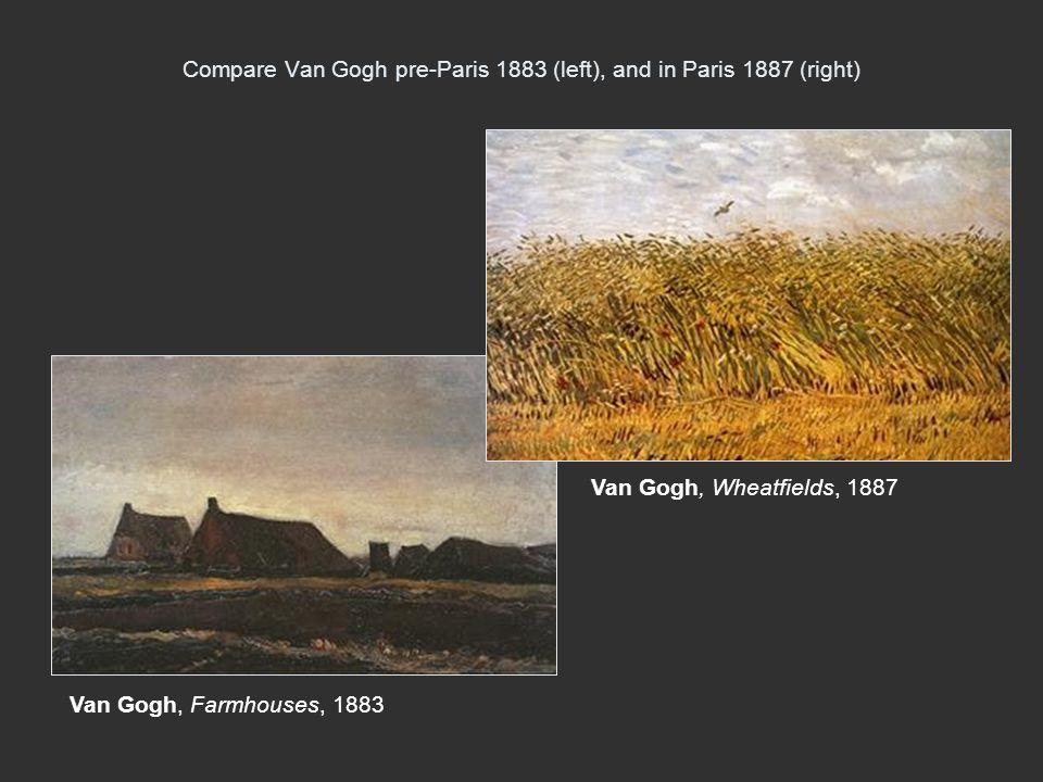 Compare Van Gogh pre-Paris 1883 (left), and in Paris 1887 (right)