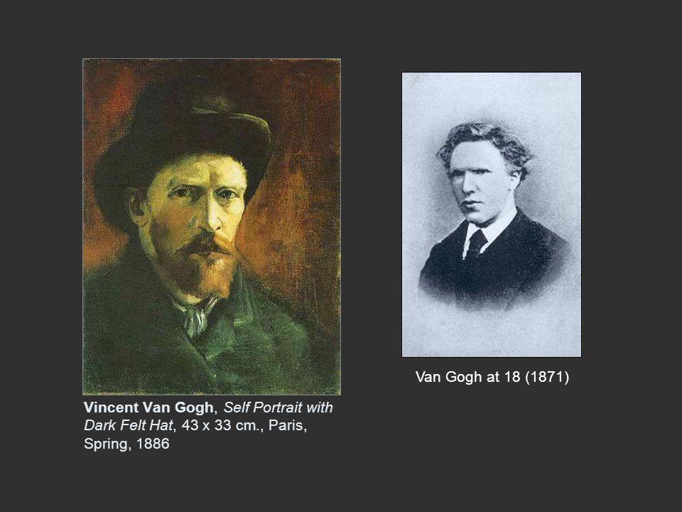 Van Gogh at 18 (1871) Vincent Van Gogh, Self Portrait with Dark Felt Hat, 43 x 33 cm., Paris, Spring, 1886.
