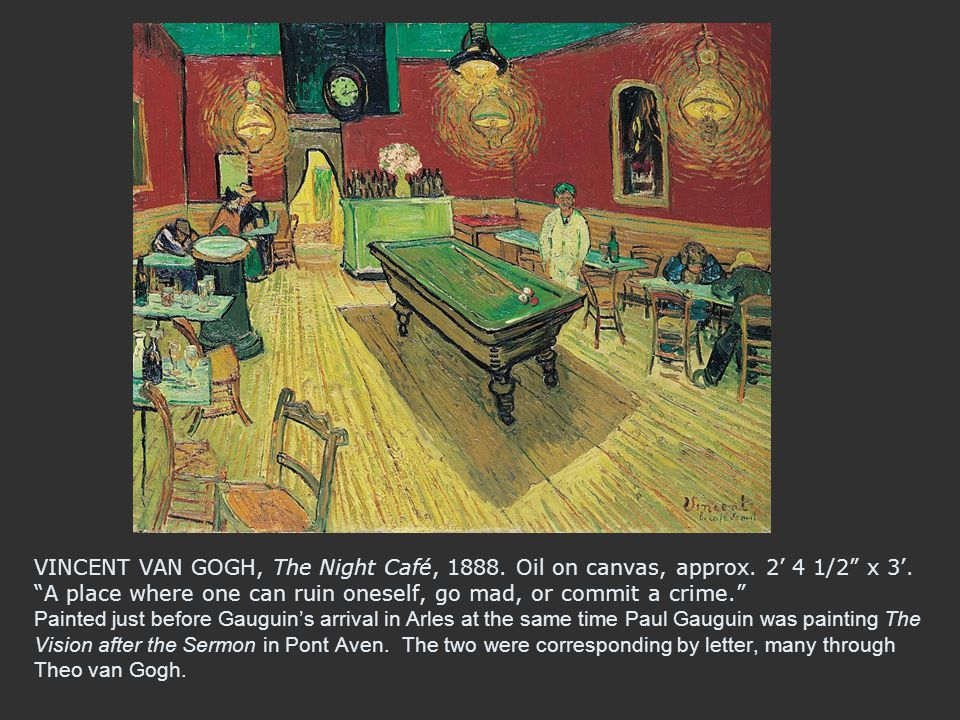 VINCENT VAN GOGH, The Night Café, 1888. Oil on canvas, approx