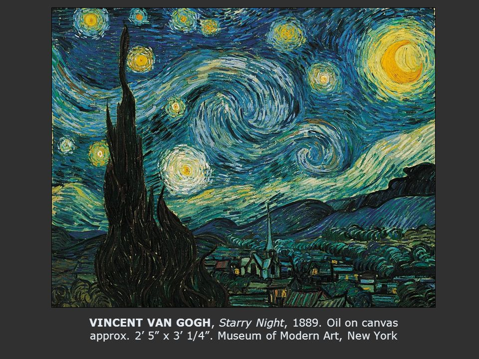 VINCENT VAN GOGH, Starry Night, 1889. Oil on canvas approx