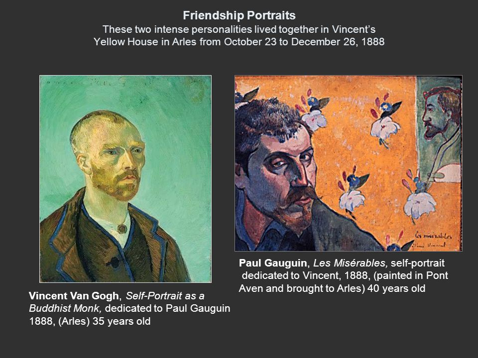 Friendship Portraits These two intense personalities lived together in Vincent's Yellow House in Arles from October 23 to December 26, 1888