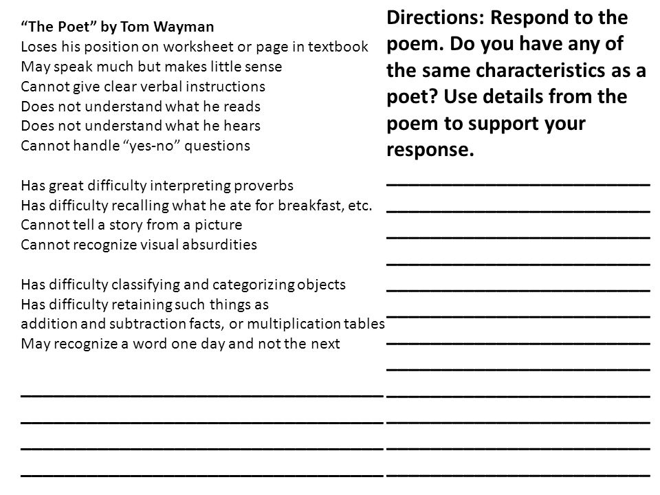 Directions: Respond to the poem