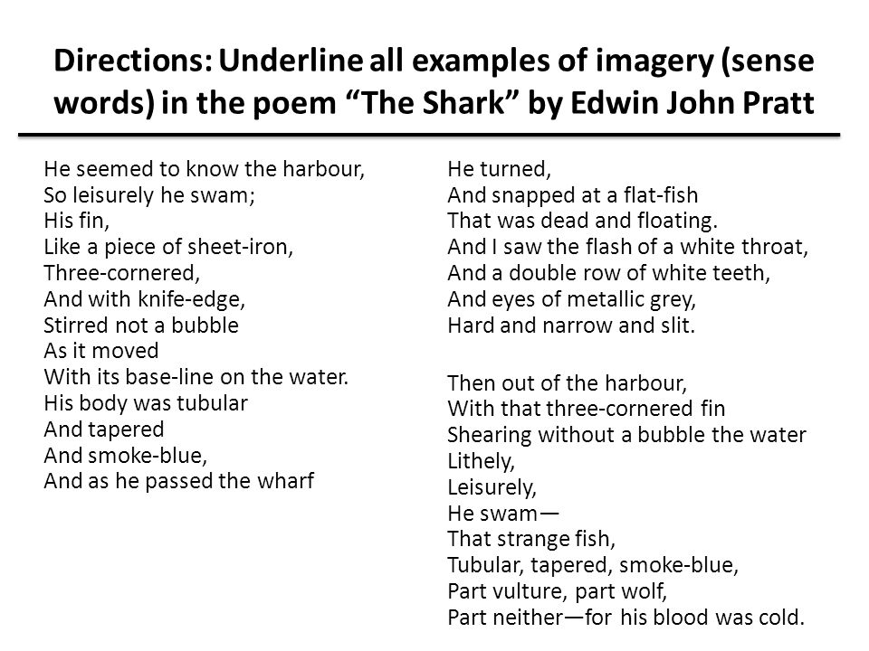 Directions: Underline all examples of imagery (sense words) in the poem The Shark by Edwin John Pratt
