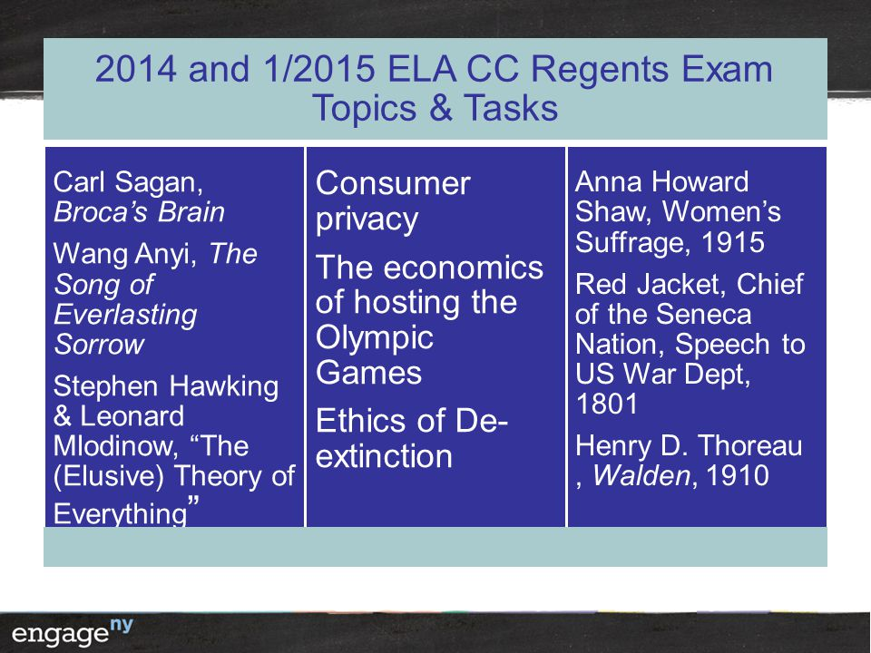 2014 and 1/2015 ELA CC Regents Exam Topics & Tasks