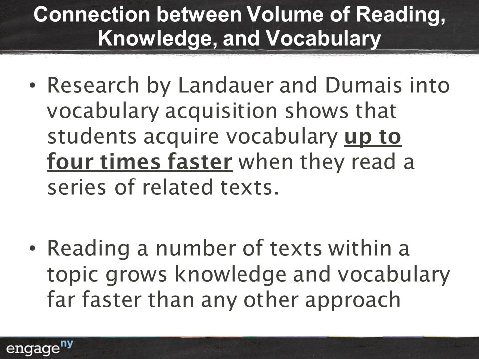 Connection between Volume of Reading, Knowledge, and Vocabulary