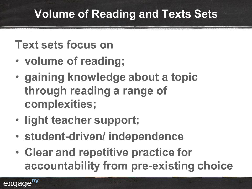 Volume of Reading and Texts Sets