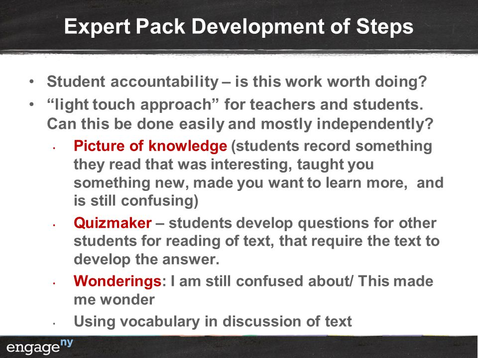 Expert Pack Development of Steps