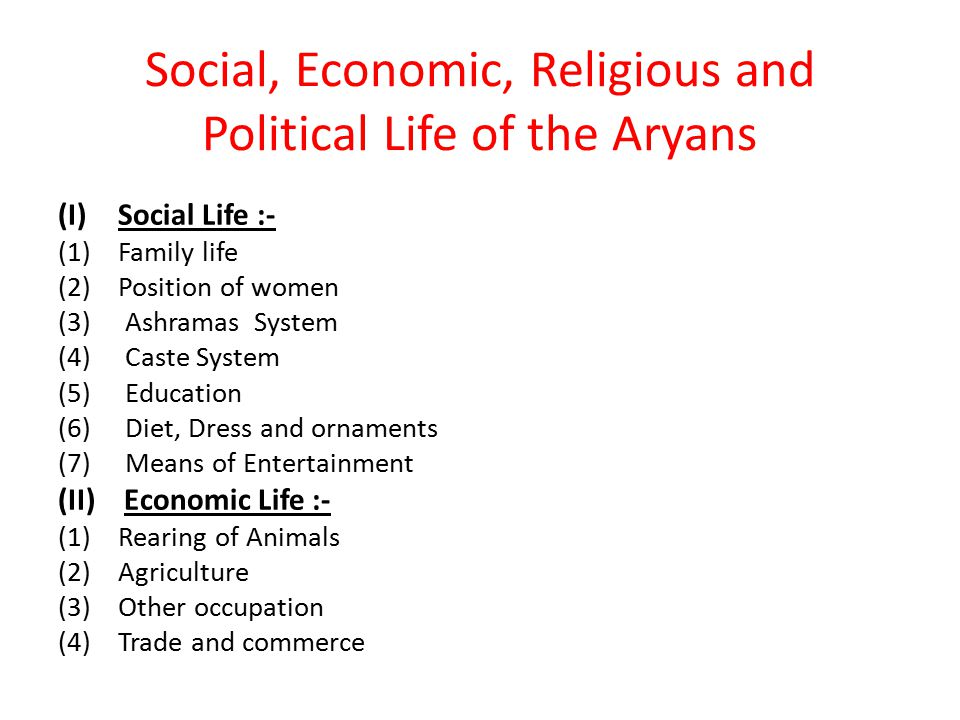 Social, Economic, Religious and Political Life of the Aryans