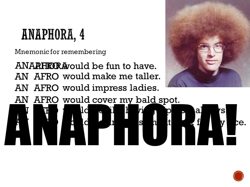 ANAPHORA! Anaphora, 4 AN APHORA AFRO would be fun to have. AN AFRO