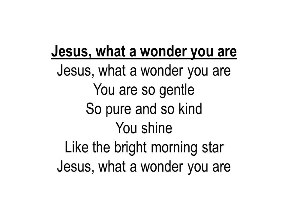 Jesus, what a wonder you are