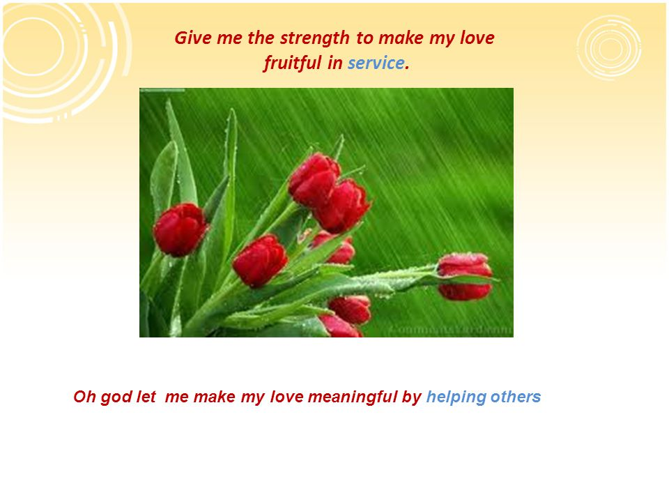 Give me the strength to make my love fruitful in service.