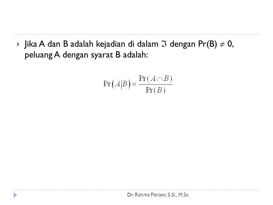 Jika A dan B adalah kejadian di dalam  dengan Pr(B)  0, peluang A dengan syarat B adalah: