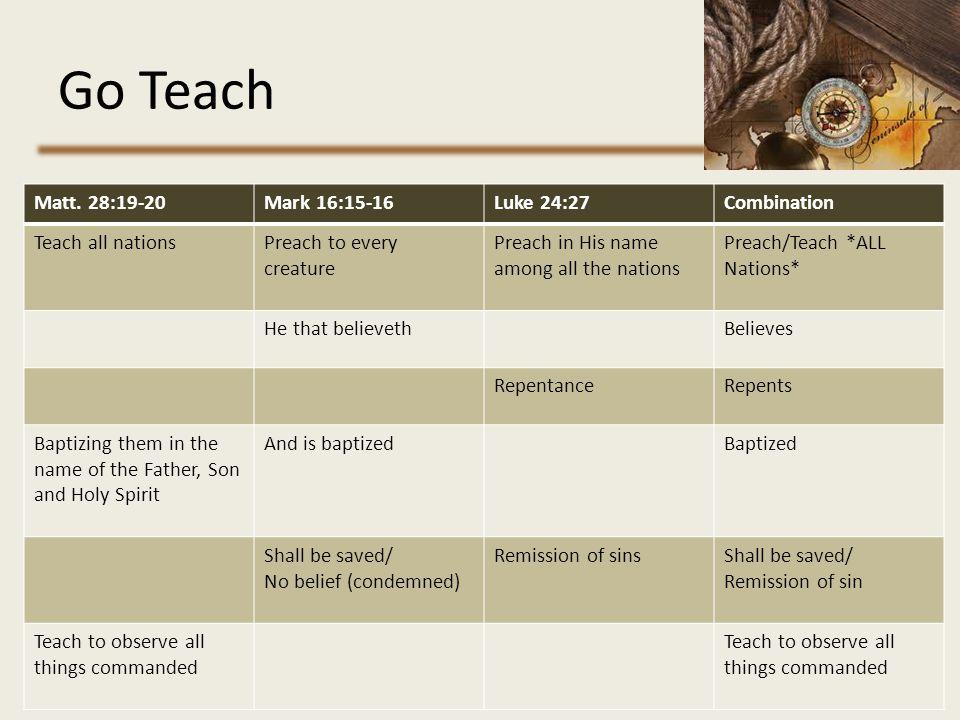 Go Teach Matt. 28:19-20 Mark 16:15-16 Luke 24:27 Combination