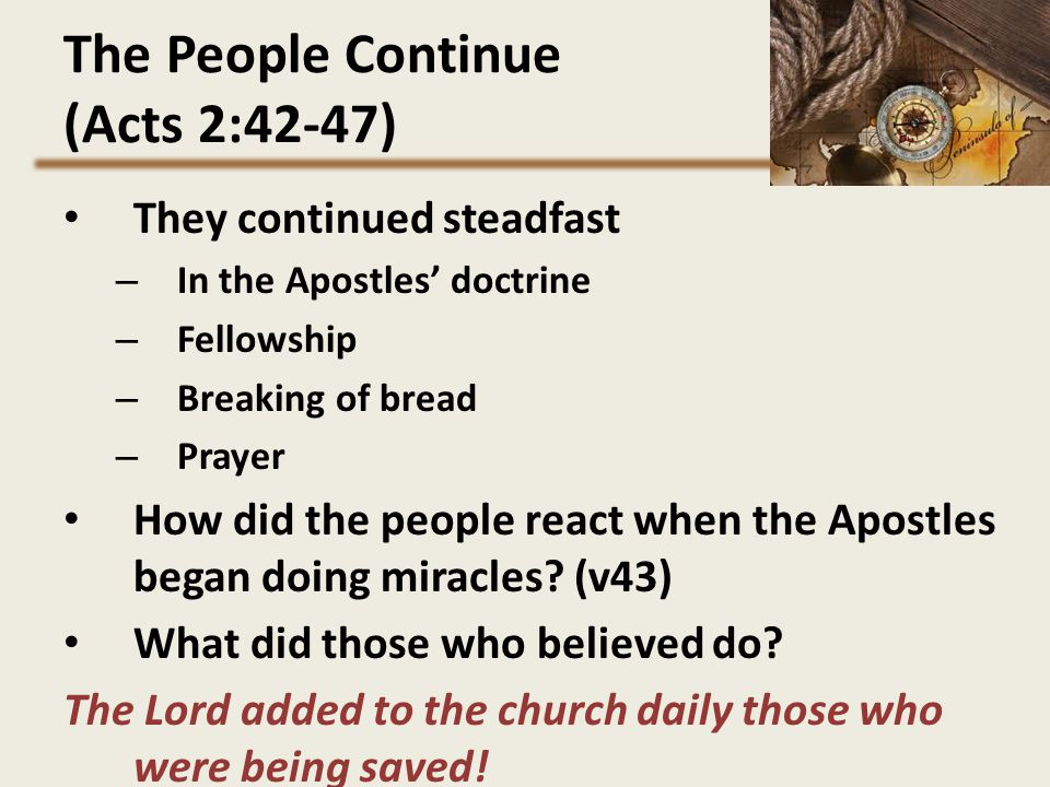 The People Continue (Acts 2:42-47)