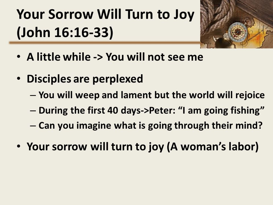 Your Sorrow Will Turn to Joy (John 16:16-33)