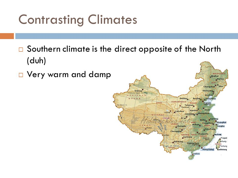 Contrasting Climates Southern climate is the direct opposite of the North (duh) Very warm and damp
