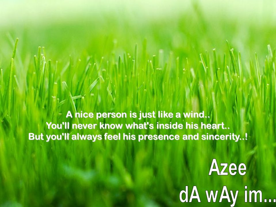 A nice person is just like a wind