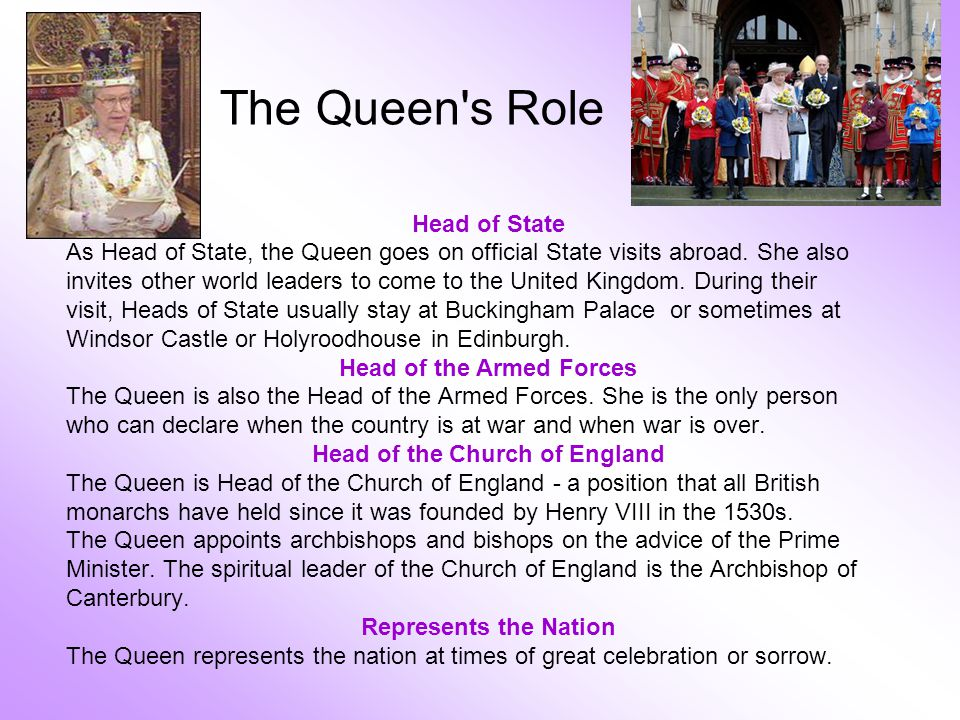 The Queen s Role Head of State