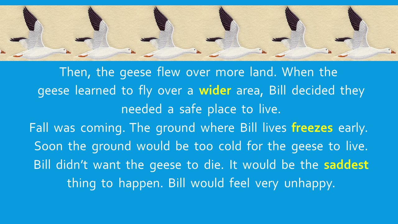 Then, the geese flew over more land