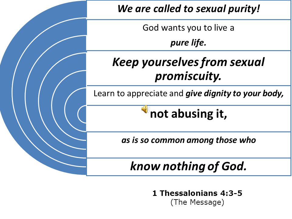 We are called to sexual purity! as is so common among those who