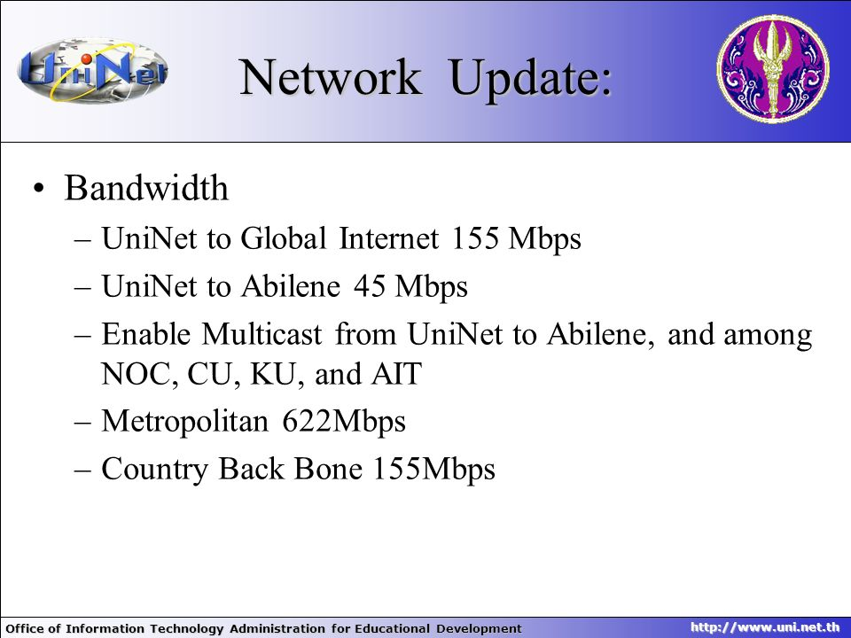 Network Update: Bandwidth UniNet to Global Internet 155 Mbps