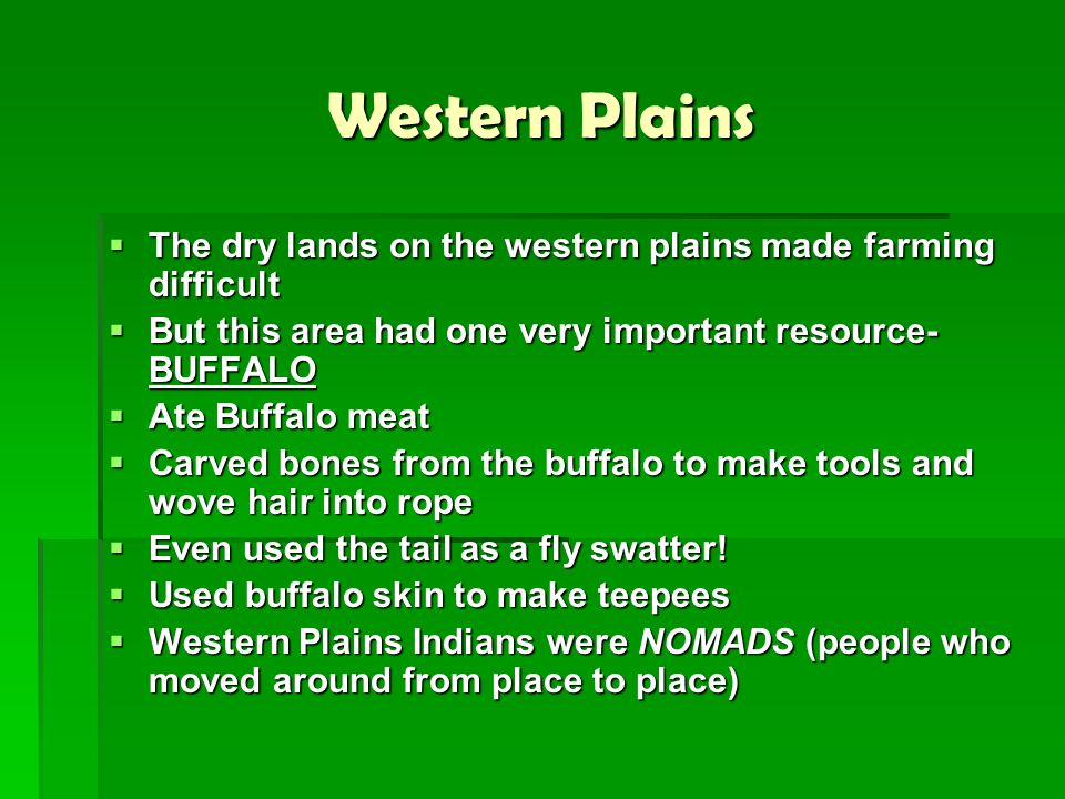 Western Plains The dry lands on the western plains made farming difficult. But this area had one very important resource- BUFFALO.