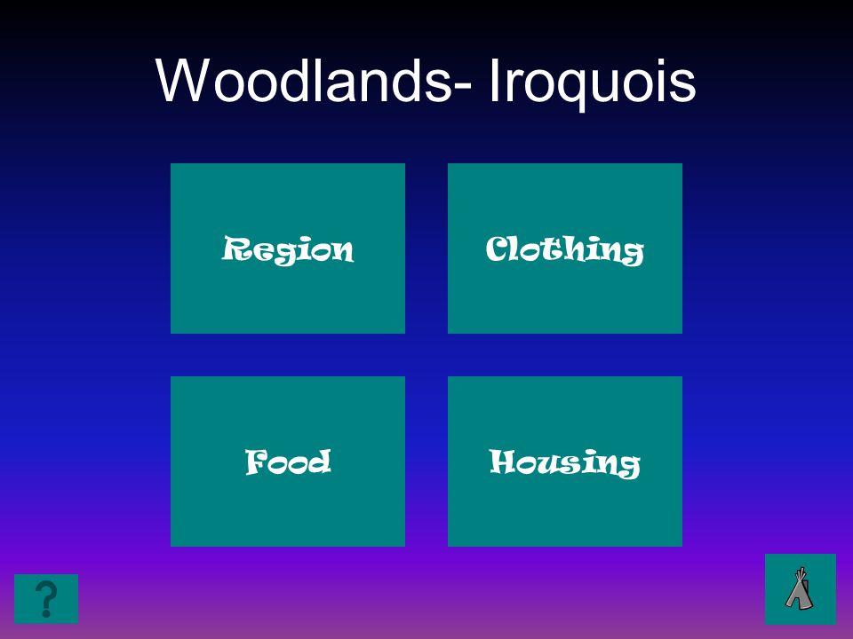 Woodlands- Iroquois Region Clothing Food Housing