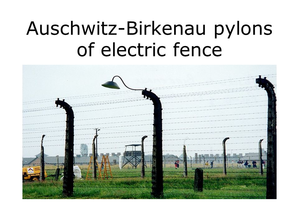 Auschwitz-Birkenau pylons of electric fence