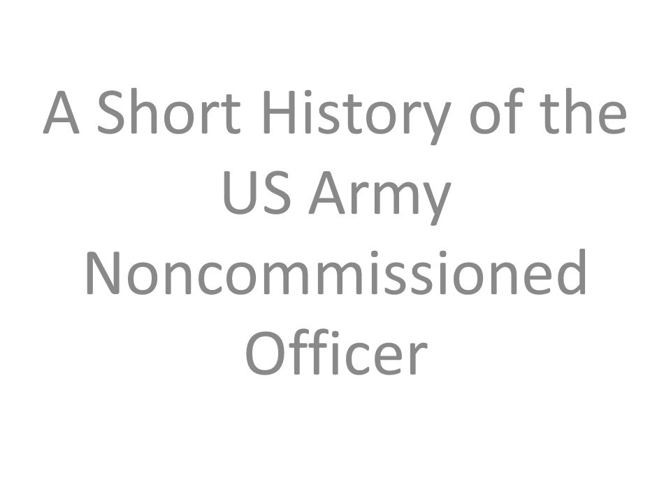 A Short History of the US Army Noncommissioned Officer