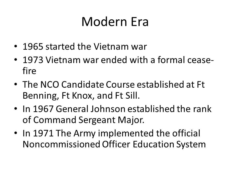 Modern Era 1965 started the Vietnam war