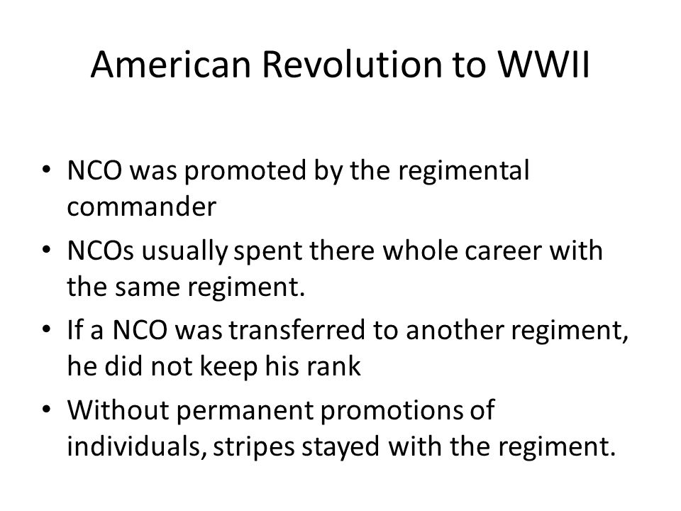 American Revolution to WWII