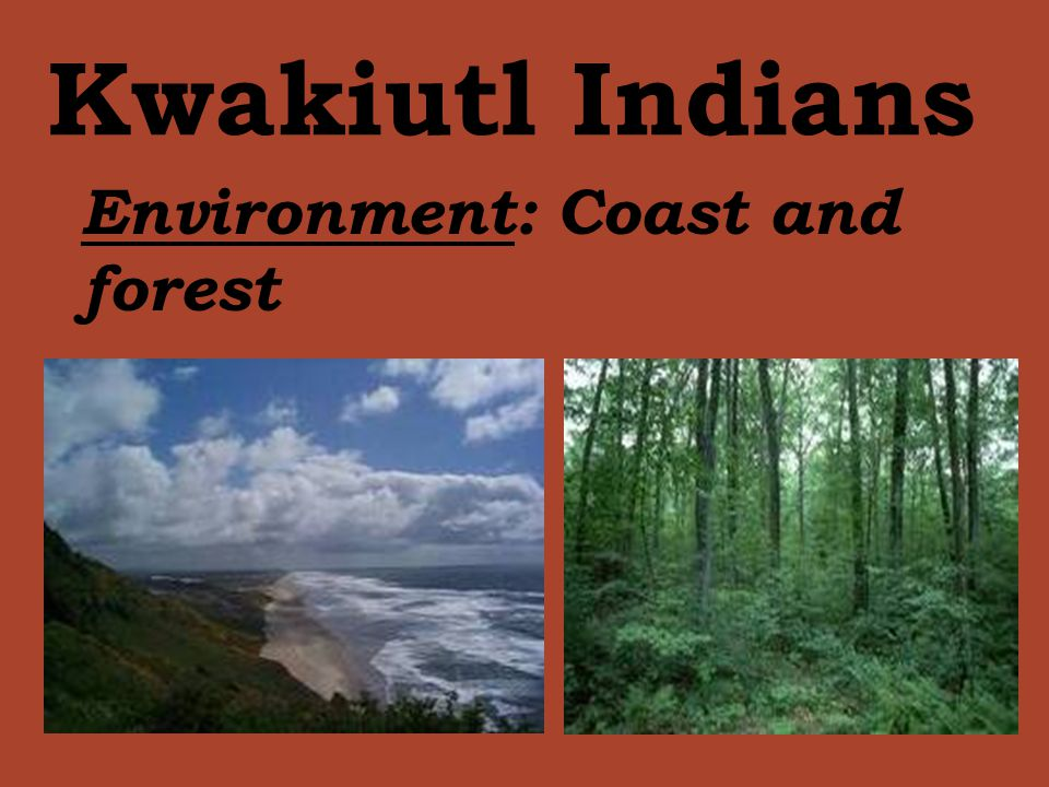 Kwakiutl Indians Environment: Coast and forest