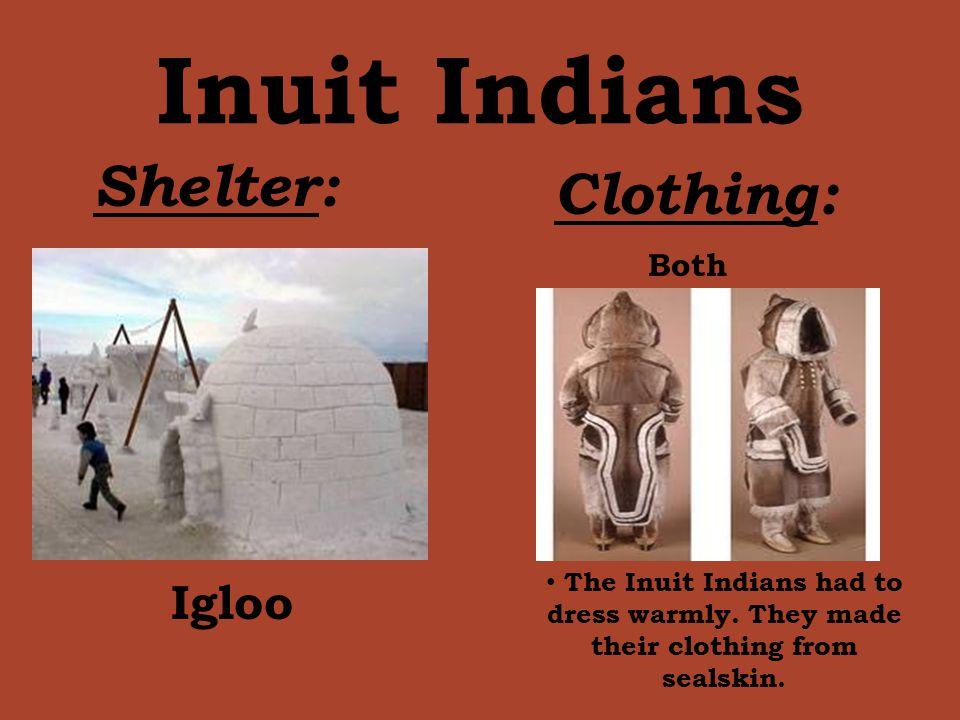 Inuit Indians Shelter: Clothing: Igloo Both