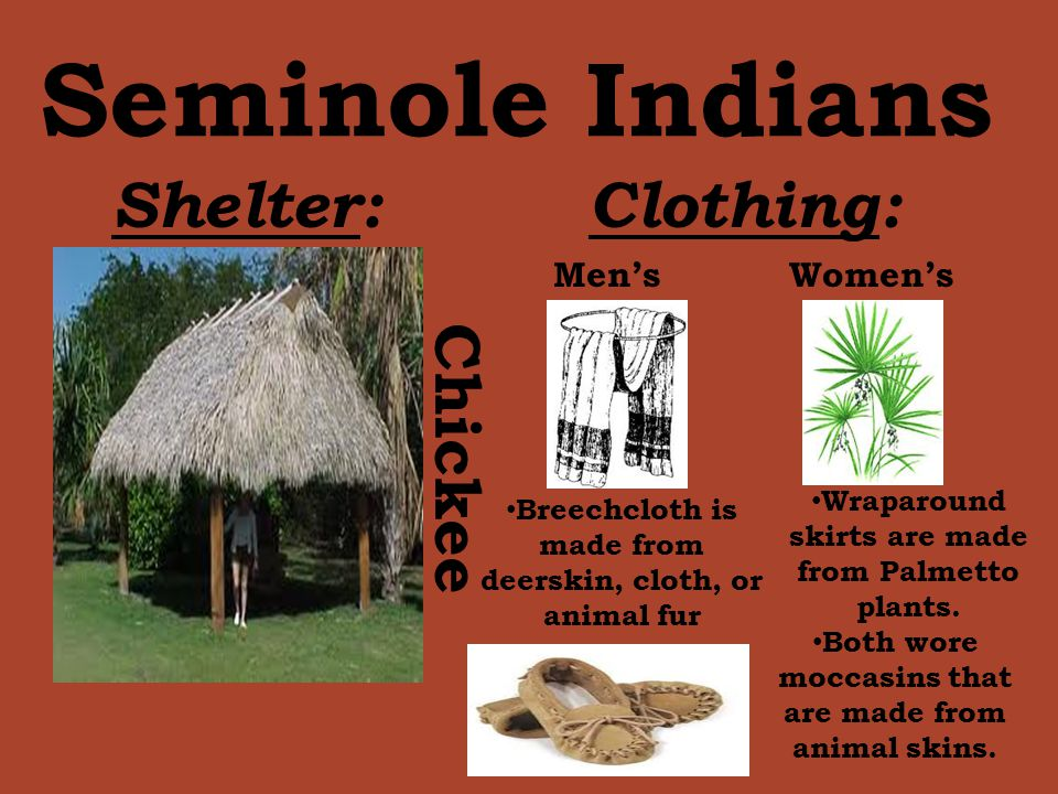 Seminole Indians Shelter: Clothing: Chickee Men's Women's