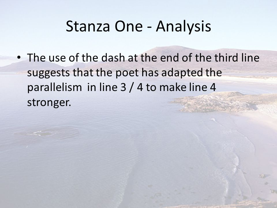 Stanza One - Analysis
