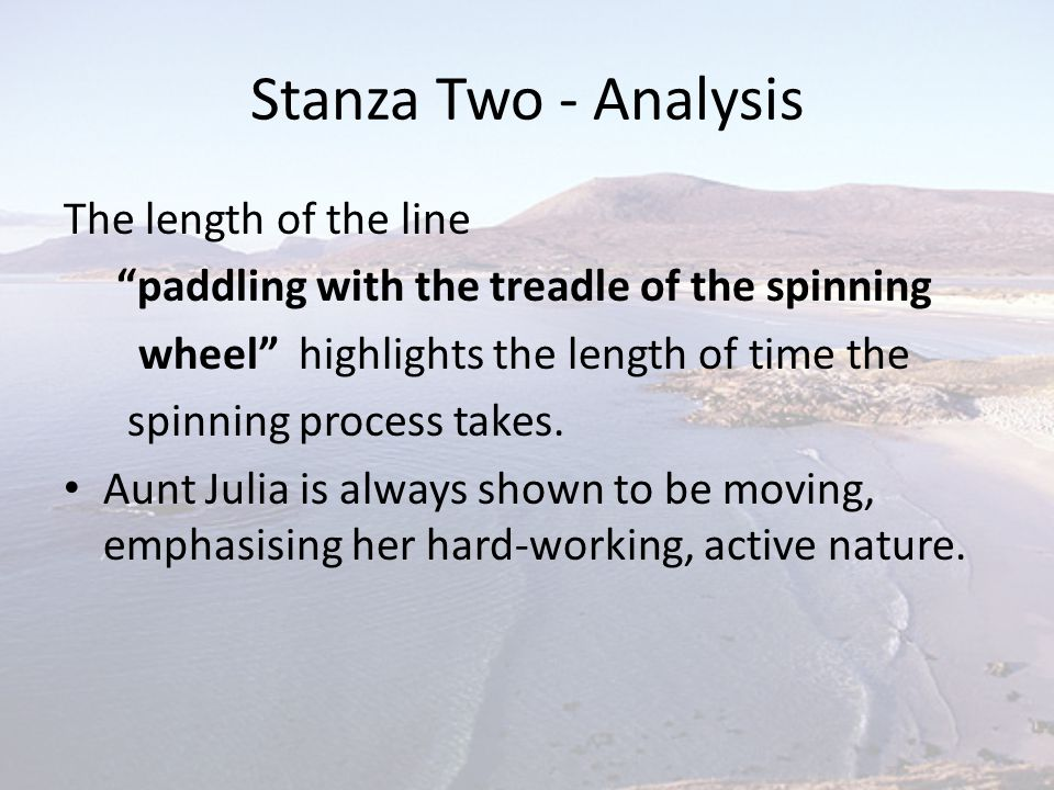 Stanza Two - Analysis The length of the line