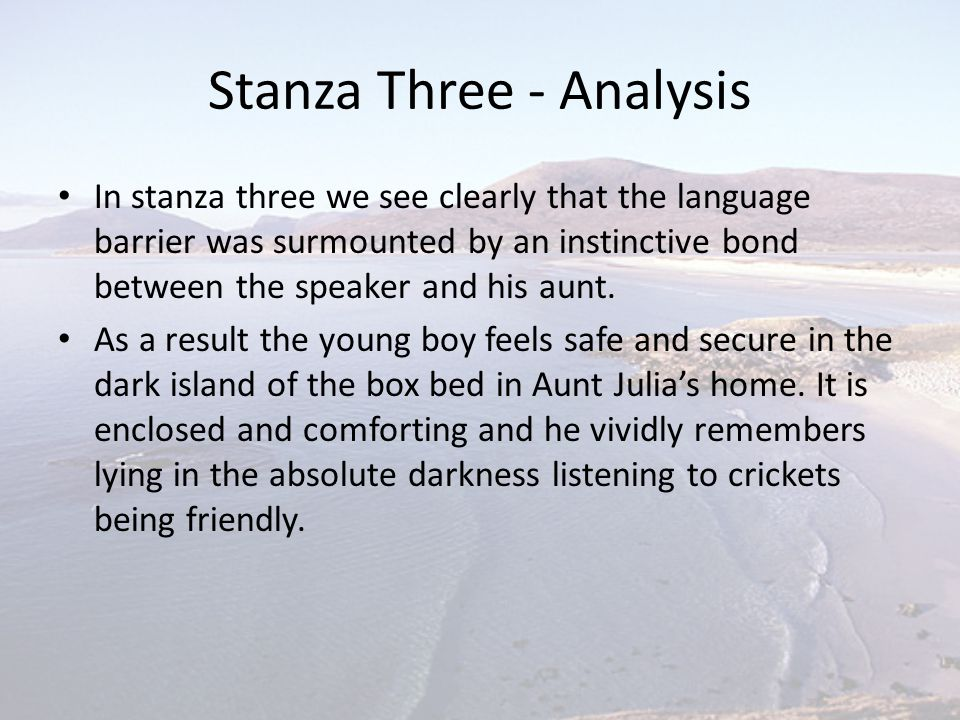 Stanza Three - Analysis