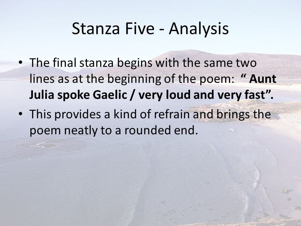 Stanza Five - Analysis