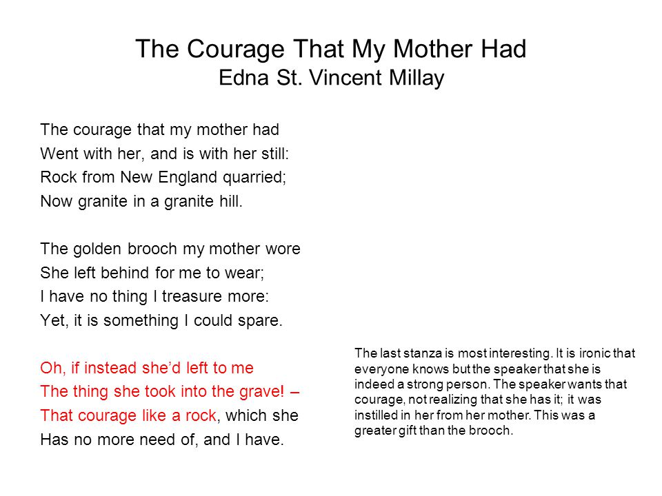 The Courage That My Mother Had Edna St. Vincent Millay
