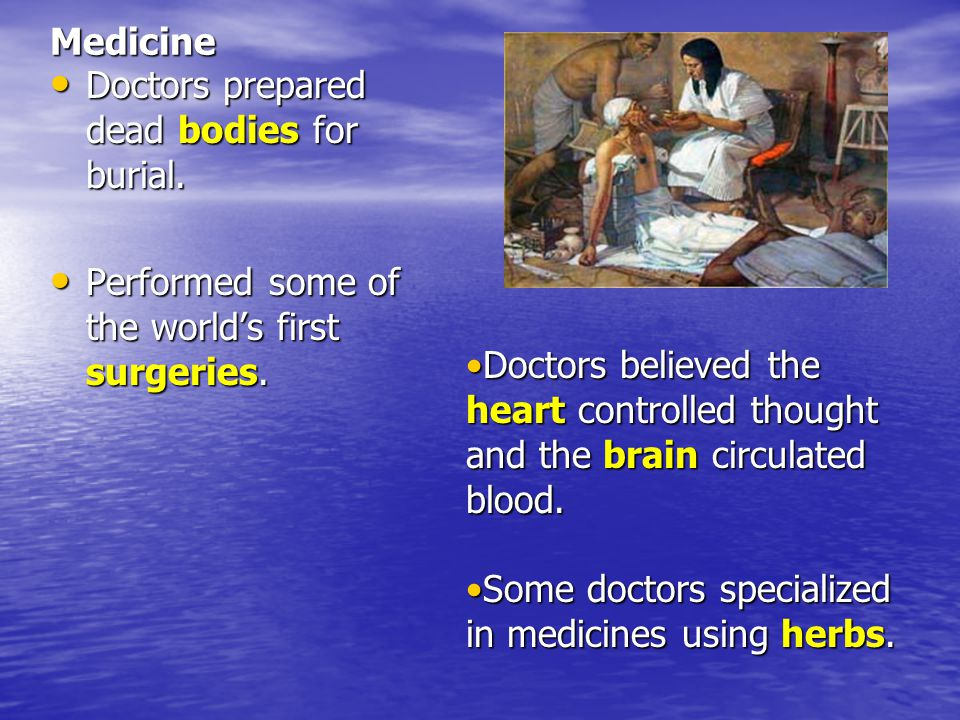 Medicine Doctors prepared dead bodies for burial. Performed some of the world's first surgeries.
