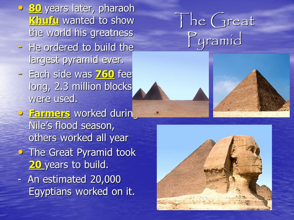 80 years later, pharaoh Khufu wanted to show the world his greatness