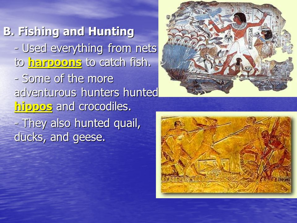 B. Fishing and Hunting - Used everything from nets to harpoons to catch fish. - Some of the more adventurous hunters hunted hippos and crocodiles.