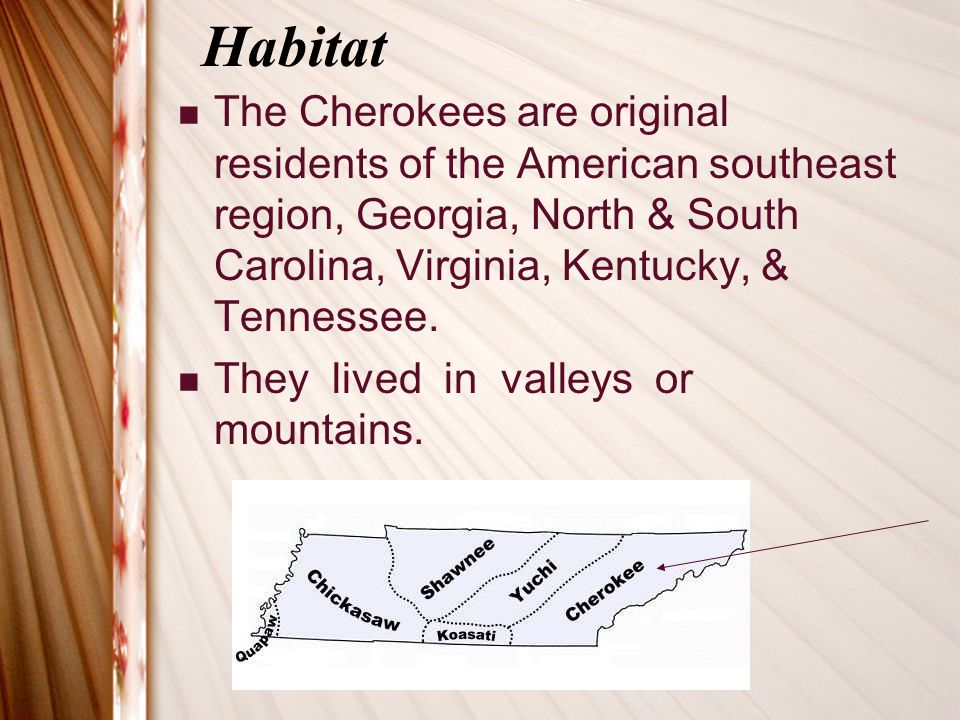 Habitat The Cherokees are original residents of the American southeast region, Georgia, North & South Carolina, Virginia, Kentucky, & Tennessee.