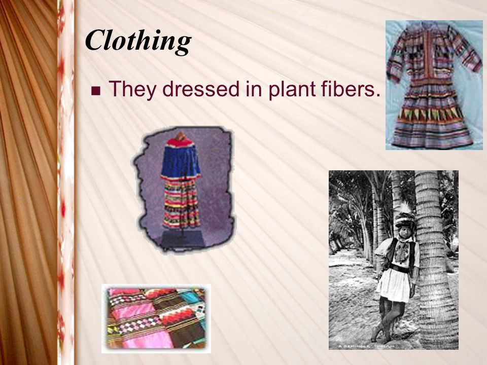 Clothing They dressed in plant fibers.